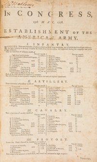 [American Revolution]. Second Continental Congress Broadside Announcing Resolutions for the Establishment of the America...
