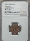 Civil War Merchants, 1863 Alden & Frink, Cohoes, NY, MS63 Brown NGC, Fuld-NY140A-1a;1864 Great Central Fair, Philadelphia, PA, MS62 Brown NGC, Bak...(Total: 4 coins)