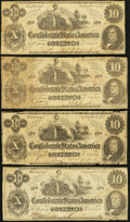 Confederate Notes:1862 Issues, T46 $10 1862. Four Examples.. ... (Total: 4 notes)