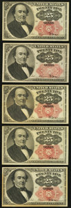 Fractional Currency:Fifth Issue, Fr. 1308 25¢ Fifth Issue Choice About New or Better. Four Examples;. Fr. 1309 25¢ Fifth Issue Choice About New.. ... (Total: 5 notes)