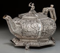 Silver Holloware, British:Holloware, A Fine Robert Hennell II George IV Silver Chinoiserie Teapot andStand, London, 1829. Marks: (lion passant), (leopard's head...
