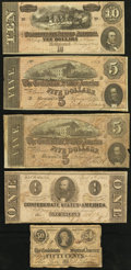 Confederate Notes:Group Lots, Five Confederate Notes.. ... (Total: 5 notes)