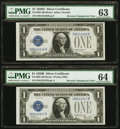 Small Size:Silver Certificates, Reverse Changeover Pair Fr. 1602/1604 $1 1928B/1928D Silver Certificates. PMG Choice Uncirculated 64/Choice Uncirculated 63.... (Total: 2 notes)