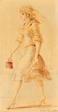 Works on Paper, Reginald Marsh (American, 1898-1954). Woman in Red and Blue, 1951. Watercolor and pencil on paper laid on board. 15-1/2 ...