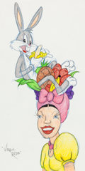 Animation Art:Production Drawing, Virgil Ross - Bugs Bunny and Carmen Miranda Illustration (WarnerBrothers, c. 1990s)....