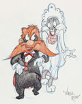 Animation Art:Production Drawing, Virgil Ross - Yosemite Sam and Bugs Bunny Illustration (WarnerBrothers, c. 1990s).. ...