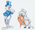 Animation Art:Production Drawing, Virgil Ross - Bugs Bunny and Yosemite Sam Illustration (WarnerBrothers, c. 1990s)....