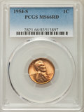 Lincoln Cents, (5)1954-S 1C MS66 Red PCGS. PCGS Population: (4653/279). NGC Census: (5962/781). Mintage 96,190,000.... (Total: 5 item)