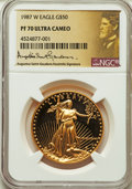 Modern Bullion Coins, 1987-W G$50 One-Ounce Gold Eagle, Saint-Gaudens Signature, PR70 Ultra Cameo NGC. NGC Census: (0). PCGS Population: (55). ...