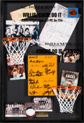 Basketball Collectibles:Others, 1975 New York Knicks Team Signed Madison Square Garden Floor BoardDisplay. ...