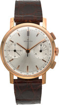 Timepieces:Wristwatch, Zenith Vintage Rose Gold Chronograph, circa 1940's. ...