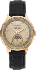 Timepieces:Wristwatch, LeCoultre Rare 14k Gold Calendar With Moon Phase, circa 1940's. ...
