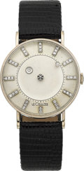 Timepieces:Wristwatch, LeCoultre & Vacheron Constantin White Gold Mystery Watch, circa1955. ...