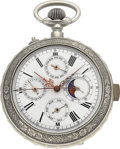 Timepieces:Pocket (pre 1900) , Swiss Quarter Hour Repeater With Moon Phase, Calendar &Chronograph. ...