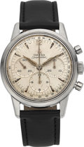 Timepieces:Wristwatch, Omega Seamaster Ref. 105.001-62 Steel Three Register Chronograph,circa 1962. ...