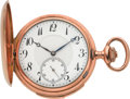 Timepieces:Pocket (post 1900), Swiss Gold Minute Repeating Hunters Case, circa 1905. ...