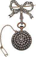 Timepieces:Pocket (post 1900), Swiss Miniature Diamond Pendant Watch & Pin. ...