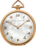 Timepieces:Pocket (post 1900), Vacheron & Constantin Platinum & Gold Watch WithMother-of-Pearl Dial, circa 1918. ...