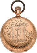 Timepieces:Pocket (pre 1900) , Waltham Heavy 14k Gold Hillside Hunters Case, circa 1886. ...
