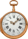 Timepieces:Pocket (pre 1900) , Baillon Paris Gold Verge Fusee, circa 1780. ...