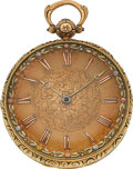 Timepieces:Pocket (pre 1900) , Swiss Heavy 18k Gold Lever Fusee Multicolor Dial. ...