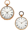 Timepieces:Pocket (pre 1900) , Swiss Two Large 18k Gold Key Winds, 49 and 46 mm Cases. ... (Total:2 Items)