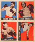 Boxing Cards:General, 1948-49 Leaf Boxing Uncut Panel With Jack Johnson. ...