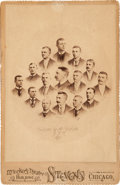 """Baseball Cards:Singles (Pre-1930), Extremely Rare 1890 Players League """"Chicago White Stocking"""" B. B.C. Cabinet Photo. ..."""