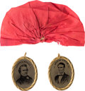 "Political:Ferrotypes / Photo Badges (pre-1896), Abraham Lincoln and Stephen A. Douglas: Beautiful ""Belt Buckle""Ferrotypes.... (Total: 2 Items)"