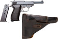 Handguns:Semiautomatic Pistol, CYQ P.38 Semi-Automatic Pistol with Leather Holster.... (Total: 2Items)