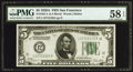 Small Size:Federal Reserve Notes, Fr. 1951-L $5 1928A Federal Reserve Note. PMG Choice About Unc 58 EPQ.. ...