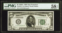 Fr. 1951-L $5 1928A Federal Reserve Note. PMG Choice About Unc 58 EPQ