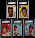 Baseball Cards:Lots, 1954 Topps Stars & Hall of Famers SGC Graded Group (5). ...
