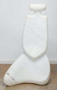 Don Smalley (American, 20th/21st Century) Meditation Carved marble 47-3/4 inches high (121.3 cm)<