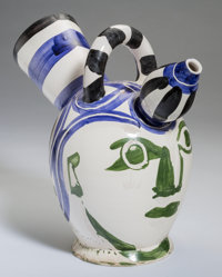 Pablo Picasso (Spanish, 1881-1973) Pichet à Glace, 1952 Terre de faience pitcher, partially glazed