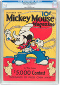 Platinum Age (1897-1937):Miscellaneous, Mickey Mouse Magazine #2 (K. K. Publications/Western PublishingCo., 1935) CGC FN/VF 7.0 White pages....