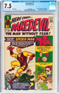 Silver Age (1956-1969):Superhero, Daredevil #1 (Marvel, 1964) CGC VF- 7.5 Off-white to whitepages....