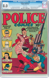 Police Comics #1 Billy Wright Pedigree (Quality, 1941) CGC VF 8.0 White pages
