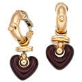 Estate Jewelry:Earrings, Enamel, Gold Earrings, La Nouvelle Bague . ... (Total: 2 Items)