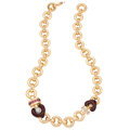 Estate Jewelry:Necklaces, Diamond, Garnet, Enamel, Gold Necklace, La Nouvelle Bague. . ...
