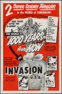 "1000 Years from Now/Invasion USA Combo (American Picture Company, R-1956). One Sheet (27"" X 41""). Science Fict..."