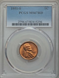 Lincoln Cents: , 1951-S 1C MS67 Red PCGS. PCGS Population: (109/0). NGC Census: (192/0). Mintage 136,010,000. ...