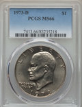 Eisenhower Dollars, 1973-D $1 MS66 PCGS. PCGS Population: (336/13). NGC Census: (73/3). Mintage 2,000,000. ...