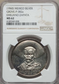 Mexico, Mexico: Emiliano Zapata silver Medal ND (1960) MS62 NGC,...