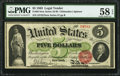 Large Size:Legal Tender Notes, Fr. 63 $5 1863 Legal Tender PMG Choice About Unc 58 EPQ.. ...