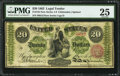 Large Size:Legal Tender Notes, Fr. 125 $20 1862 Legal Tender PMG Very Fine 25.. ...