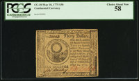 Continental Currency May 10, 1775 $30 PCGS Choice About New 58
