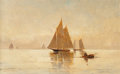 Fine Art - Painting, American:Modern  (1900 1949)  , Emil Carlsen (American, 1853-1932). Sailboats in theEvening. Oil on canvas. 14-1/4 x 22 inches (36.2 x 55.9 cm).Signed...