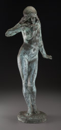 Sculpture, Edward McCartan (American, 1879-1947). Nymph Drinking from a Shell, 1915. Bronze with verdigris patina. 28 inches (71.1 ...