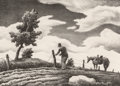 Fine Art - Work on Paper:Print, Thomas Hart Benton (American, 1889-1975). The Fence Mender,1940. Lithograph. 9-7/8 x 13-7/8 inches (25.1 x 35.2 cm) (im...